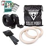 PULLUP & DIP Anelli da Gimnastica in Legno, Fitness Anelli Fitness Palestra per...